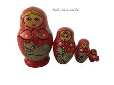 Matryoshka Russian Nesting Doll Babushka Norwegian Folk Traditional Costume 5 pc