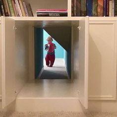 Hidden passageway inside cabinets connects two rooms. A perfect place for your kids to play hide and seek or escape in a home invasion!!
