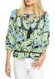 Vibrant in bright hues, this Lace Woven Top is essential to achieving playful style. It features a tie neck and three-quarter blouson sleeves that creates a top that exudes total flair. Lace Weave, Household Items, Wedding Outfits, My Style, Sleeves, Crown, Clothes, Beauty, Shopping