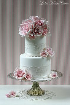 Pink roses and lace   Flickr - Photo Sharing!