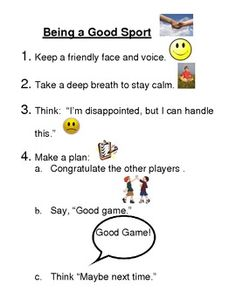 "This is a social skill lesson on ""Being a Good Sport"".  It also includes examples for role play scenarios.  This social skills program meets 2 times per month, after school, for 1 hour and 15 minutes. Students who could benefit from receiving social skills are paired with a ""role model"" student from either their grade level or classroom."