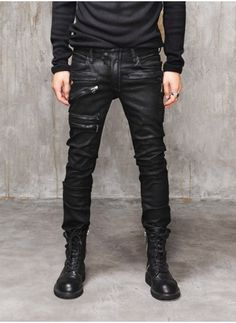 Mens BM Heavy Waxed Multi Zip Black Biker Jeans at Fabrixquare