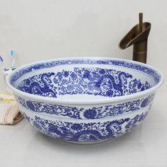 Look at this!! Art basin wash basin wash basin wash basin counter basin blue and white US $35.24