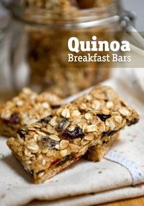 Quinoa Breakfast Bars and more quinoa breakfast recipes on MyNaturalFamily.com #quinoa #breakfast #recipe