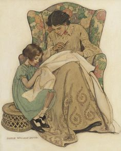 """The Sewing Lesson"" by Jessie Wilcox Smith"