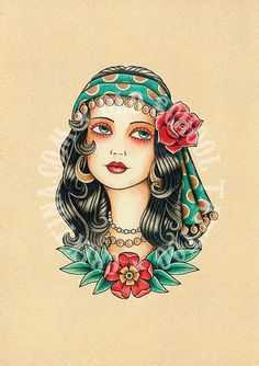 T01. Gypsy woman. Flash tattoo. Old school tattoo. Art tattoo. Digital Print, Instant Download. Printable Illustration.