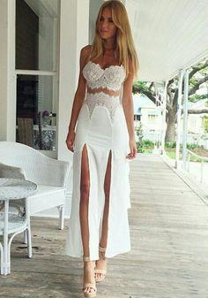 White Patchwork Condole Belt Lace Bandeau Slits Dress