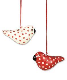 Polka Dot Bird Ornaments | Red and White Swedish Christmas