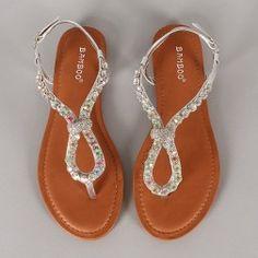 f3f5f32e281d Bamboo Armin-14 Metallic Rhinestone Thong Flat Sandal Dressy Sandals