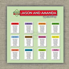 Wedding Seating Chart Table Game inspired funny by redlinecs