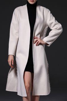 studded hem winter coat