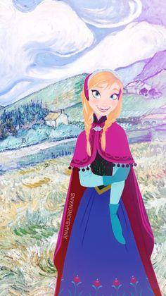 "Anna from ""Frozen"" + Van Gogh - Art by annabjorgmans.tumblr.com"