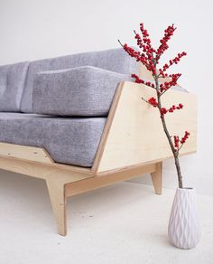 Plywood Bed Designs, Plywood Design, Scandinavian Style, Scandinavian Sofas, Cabin Furniture, Plywood Furniture, Furniture Making, Corner Sofa Design, Couch Design