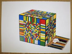 Drawing of World Record Rubik's Cube by kitslam Art Attack Ideas, Rubiks Cube Algorithms, Cube World, Speed Art, Rubik's Cube, Cube Puzzle, Color Pencil Art, Marker Art, World Records