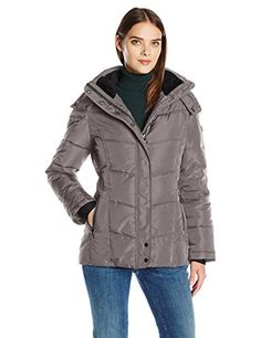 Calvin Klein Women's Down Puffer Short Coat with Hood, Titan, L -- Check out the image by visiting the link.