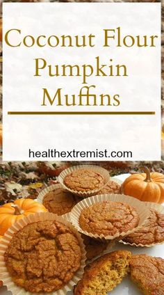 Paleo pumpkin muffins are a great fall treat! These muffins are moist, fluffy, and so delicious. This paleo pumpkin muffins are made with coconut flour.keto minus the honey. Coconut Flour Muffins, Paleo Pumpkin Muffins, Coconut Flour Recipes, Pumpkin Bread, Pumpkin Recipes, Healthy Pumpkin, Coconut Oil, Paleo Sweets, Paleo Dessert