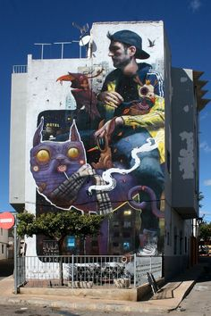 Old friends Sebas Velasco and Dulk, recently joined their brushes and cans to create a large new collaboration mural in Torreblanca, Spain. Invited over as a part of the local Museum unfinished art urban (MIAU) and Department of Culture's public art progr Street Wall Art, Murals Street Art, Graffiti Murals, Best Street Art, Amazing Street Art, Street Art Graffiti, Mural Art, Amazing Art, Graffiti Lettering