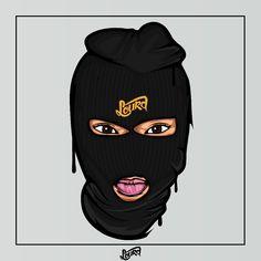 Drawings Of Black Girls, Dark Art Drawings, Black Girl Cartoon, Dope Cartoon Art, Bad Girl Wallpaper, Pink Wallpaper Iphone, Ski Mask Tattoo, Fille Gangsta, Trill Art