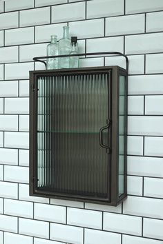 Industrial Fluted Glass Wall Cabinet We think our fluted glass wall cabinet makes perfect industrial Vintage Bathroom Cabinet, Bathroom Glass Wall, Bathroom Ideas, Attic Bathroom, Wall Cupboards, Bathroom Wall Cabinets, Bathroom Storage, Industrial Bathroom, Vintage Industrial