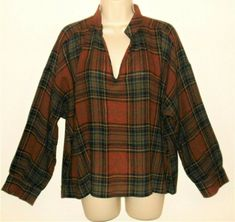 57ea57a6764 Madewell Highroad Top L Plaid Brown Black Womens Popover Large Shirt Wool  Blend  Madewell