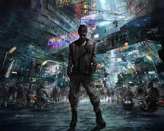 And, when night darkens the streets, then wander forth the sons of Belial, flown with insolence and wine. Fantasy City, Sci Fi Fantasy, Cyberpunk 2020, Sci Fi Environment, Cyberpunk Character, Graffiti Wall Art, Retro Futuristic, Ghost In The Shell, Shadowrun