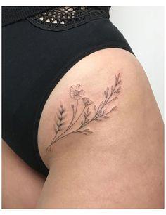 Flower Hip Tattoos, Side Hip Tattoos, Floral Thigh Tattoos, Baby Tattoos, Body Art Tattoos, Girl Tattoos, Tatoos, Small Hip Tattoos Women, Hip Tattoo Small
