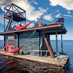 With Valentine's Day just around the corner, we thought we'd have a little fun imagining all the eco-conscious ways one could drift off with that special someone. From a private lake boat sauna, to a glass-bottomed sea chapel, we've rounded up some of the most swoon-worthy floating love nests around the globe. Check them out on inhabitat.com #architecture #floatinghouses - Image via Saunalautta Facebook