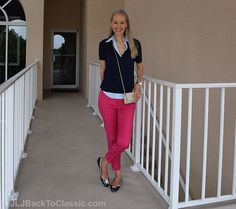 Janis-Lyn-Johnson-Brooks-Brothers-Sweater-And-Shirt-Lilly-Pulitzer-Crossbody-and-Flats ~JLJBackToClassic.com