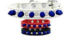 Mirage Pet Products Crystal and Blue Spikes Dog Collar, Size 10, Red
