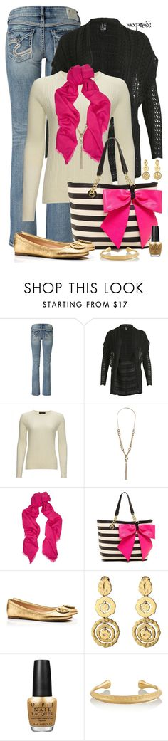 """""""Gold Trim with a Bow"""" by exxpress ❤ liked on Polyvore featuring Silver Jeans Co., Izabel London, Jaeger, Dorothy Perkins, Valentino, Betsey Johnson, Tory Burch, Oscar de la Renta, OPI and Aurélie Bidermann"""