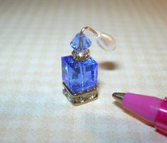 Miniature Perfume Bottle/Crystal Base, Atomizer/SAPPHIRE: DOLLHOUSE Miniatures