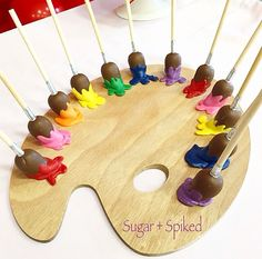 Wow! Paint brush cake pops made by Sugar & Spiked. What a fabulous addition to an Art party!