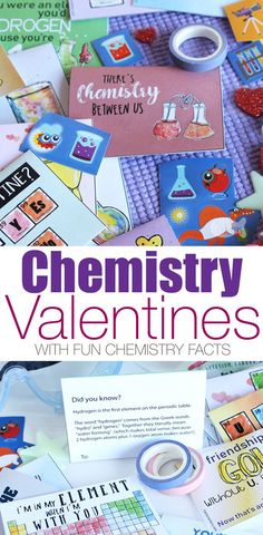 Printable Chemistry Valentines for Kids (with Chemistry Facts!) Print these Chemistry Valentines for Kids, with fun chemistry facts on the back and unique hand-drawn watercolor illustrations Science Valentines, Kinder Valentines, Valentines Day Activities, Valentine Day Crafts, Valentine Ideas, Valentine Party, Funny Valentine, Holiday Crafts, Science For Kids