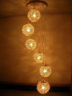 Free shipping, handmade ,six beads spiral rattan lighting, hand weaving chandelier, living room lights, decorative lights US $187.00