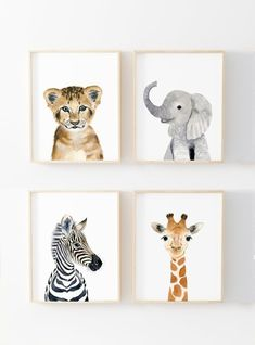 Baby animals : zebra, giraffe, elephant, lion  Lets make your little ones room warm and enjoyable!  This baby animal art prints collection features a set of 4 prints from my watercolor art collection. This set includes portraits of a zebra, elephant, and lion and monkey.  If, however, youd
