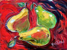 Karen Tarlton Original oil painting Abstract Pear by Karensfineart