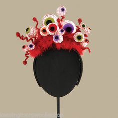 "HALLOWEEN HEADBAND -""EVIL EYE"" HALLOWEEN FASCINATOR - BLOODSHOT EYEBALL HEADBAND"