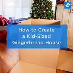 Create a Kid-Sized Gingerbread House - Use leftover cardboard boxes to build a candy cane lane inspired playhouse. Create a Kid-Sized Gingerbread House - Use leftover cardboard boxes to build a candy cane lane inspired playhouse. Cardboard Houses For Kids, Cardboard Gingerbread House, Cardboard Box Crafts, Cardboard Playhouse, Christmas Gingerbread House, Cardboard Toys, Christmas Crafts, Cardboard Castle, Cardboard Box Ideas For Kids