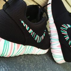Custom Nike Roshe Run sneakers, South Beach teal/ Pink petals, Fashionable design,