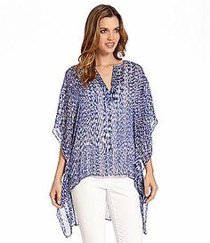 Karen Kane ReflectionPrint Scarf Top #Dillards poly blue/white print szS 31.75L 27.00