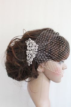 Bridal Veil ,Bridal Comb,Bandeau Bridal Birdcage Veil,Rhinestone Fascinator Comb,Wedding Veil,Ivory blusher birdcage veil,Bridal Hair Comb on Etsy, $62.00