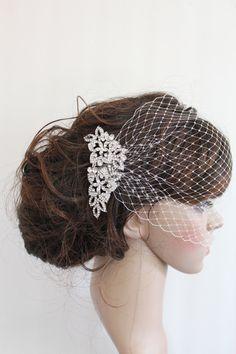 Bridal Veil ,Bridal Comb,Bandeau Bridal Birdcage Veil,Rhinestone Fascinator Comb,Wedding Veil,Ivory blusher birdcage veil,Bridal Hair Comb