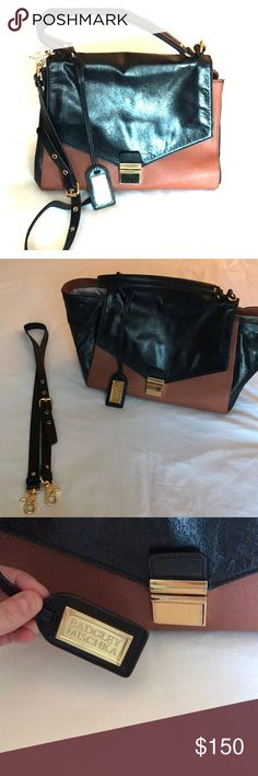 Badgley Mischka Shoulder Bag Black and Brown leather bag. Removable straps and expandable. Badgley Mischka Bags