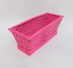 Perfect pink basket. Great for holding gift cards at a wedding. Barbie would be so proud. Dont forget this for your next party. For sale. Check out this item in my Etsy shop https://www.etsy.com/listing/279877452/vintage-wedding-basket-flower-girl-coral