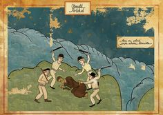 For his graduation thesis, Istanbul artist Murat Palta mixed classic motifs from 16th century Ottoman miniatures with famous moments from Western cinema. This is Clockwork Orange.