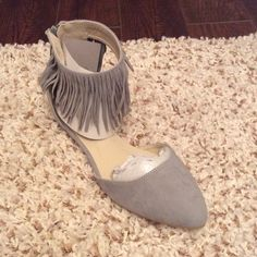Grey Fringe Flats Last Pair Gray  Fringe Flats Faux Suede                               Final Price Reduction Atrevida Shoes Flats & Loafers