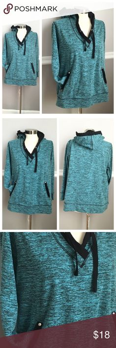 Activewear Hoodie Great hoodie! Thin enough for the spring and summer! Pretty light teal/blue and black accent. Pockets, hoodie. Comfy and stylish! 68% cotton 32% polyester. Avenue Tops Sweatshirts & Hoodies