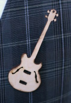 Wood Guitar Wedding Pin Boutonniere Best Man by braggingbags