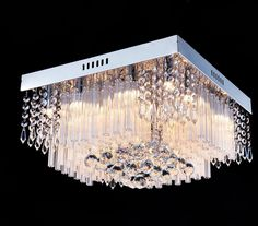 "Saint Mossi Crystal Rain Drop Chandelier Modern & Contemporary Ceiling Pendant Light 12G9 Bulbs Required H10"" X W16"" X L16"""