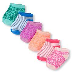 Toddler Girls Leopard Stripe Ankle Socks 6-Pack